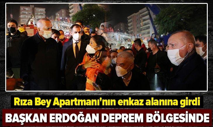 Başkan Erdoğan, İzmir'de deprem bölgesinde incelemelerde bulundu