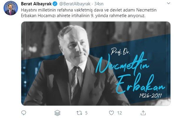 Son dakika: Hazine ve Maliye Bakanı Berat Albayrak'tan 'Necmettin Erbakan' paylaşımı 1