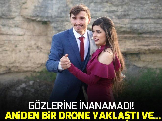 MEZUNİYET ÇEKİMİ SIRASINDA YANLARINA BİR DRONE YAKLAŞTI VE...