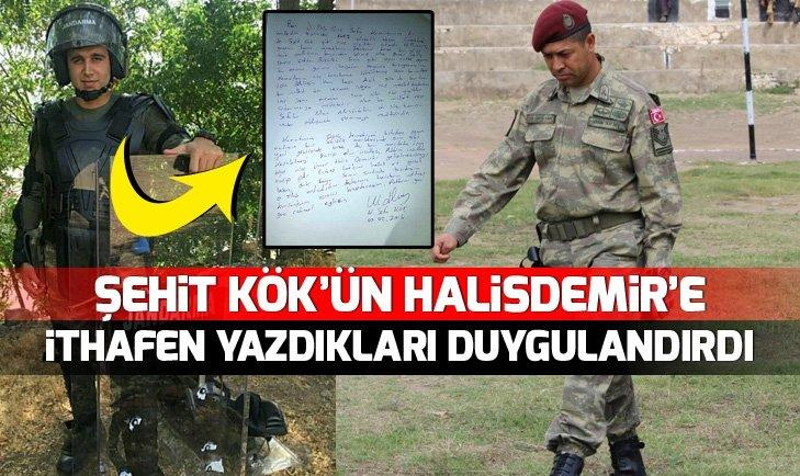 ŞEHİT KÖK'ÜN, HALİSDEMİR'E İTHAFEN YAZDIKLARI DUYGULANDIRDI