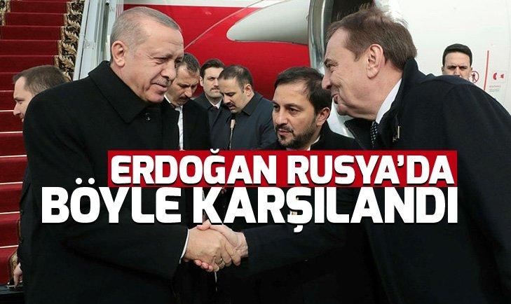 Başkan Erdoğan Rusya'ya ulaştı