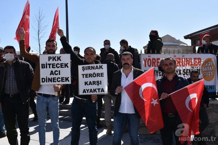 Şırnak teröre karşı tek yürek! Gara şehitleri için 'PKK'ya lanet' yürüyüşü
