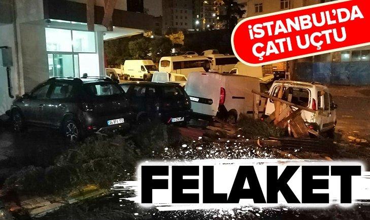 Felaket! İstanbul'da çatı uçtu