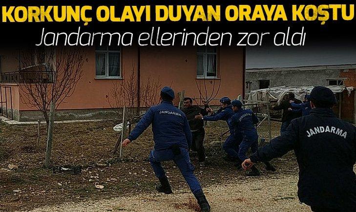 KORKUNÇ OLAYI DUYAN ORAYA KOŞTU! JANDARMA ELLERİNDEN ZOR ALDI...