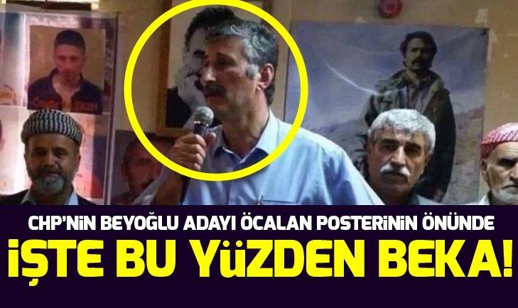 CHP'nin Beyoğlu adayı Alper Taş Öcalan posterinin önünde!