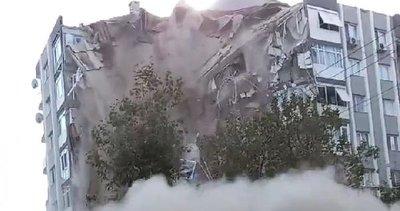 İzmir'deki binanın çökme anı kamaralara böyle yansıdı