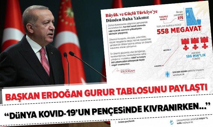 Başkan Erdoğan gurur tablosunu paylaştı