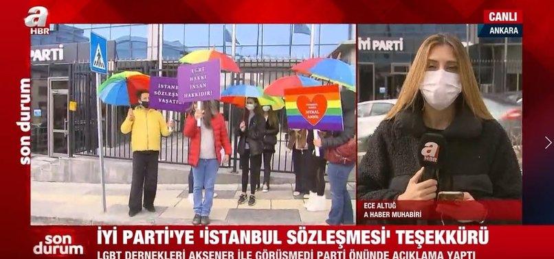 LGBT dernekleri İYİ Parti Genel Merkezi önünde toplandı | A Haber muhabiri ayrıntıları canlı yayında aktardı