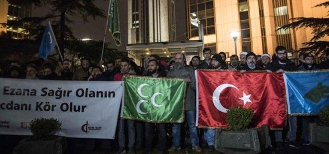 İSRAİL KONSOLOSLUĞU ÖNÜNDE PROTESTO