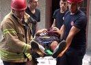 Oğluyla kavga ederken 5. kattan yan binanın çatısına düştü | Video