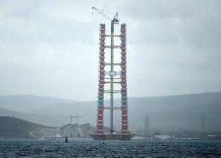 Yapımı devam eden Çanakkale Köprüsü'nün kule yüksekliği 230 metreye ulaştı