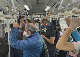 İstanbul'da minibüs ve otobüsler ayakta yolcu aldı! Sosyal mesafe yok sayıldı