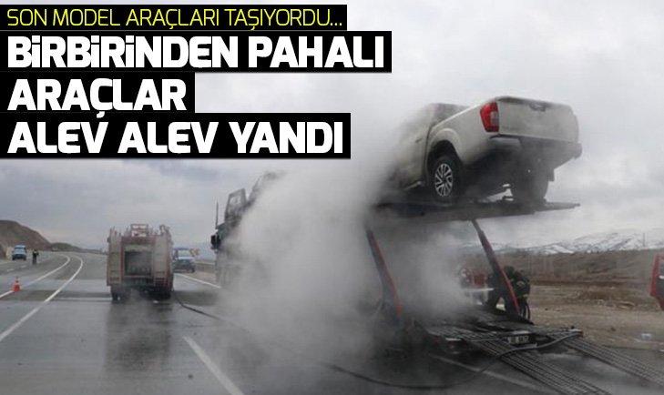 SON MODEL OTOMOBİL TAŞIYAN TIR ALEV ALEV YANDI!