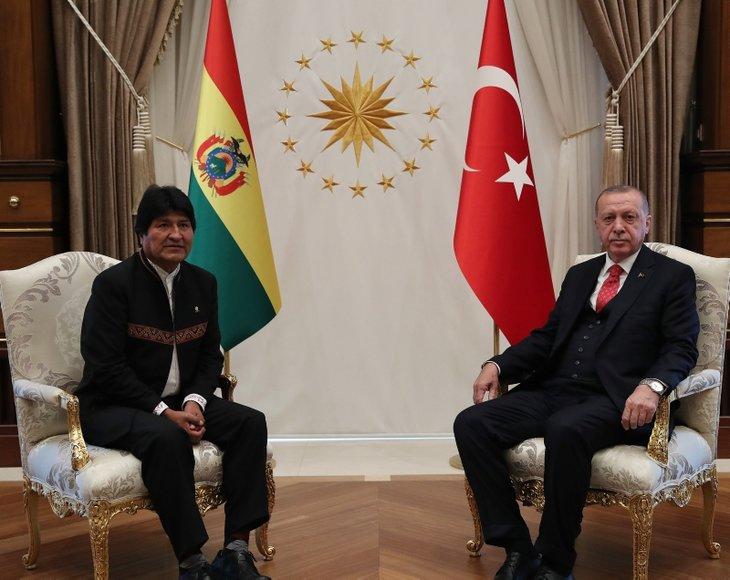 Başkan Erdoğan Bolivya Devlet Başkanı'nı törenle karşıladı