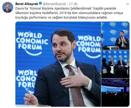 Son dakika: Hazine ve Maliye Bakanı Berat Albayrak'tan Davos açıklaması