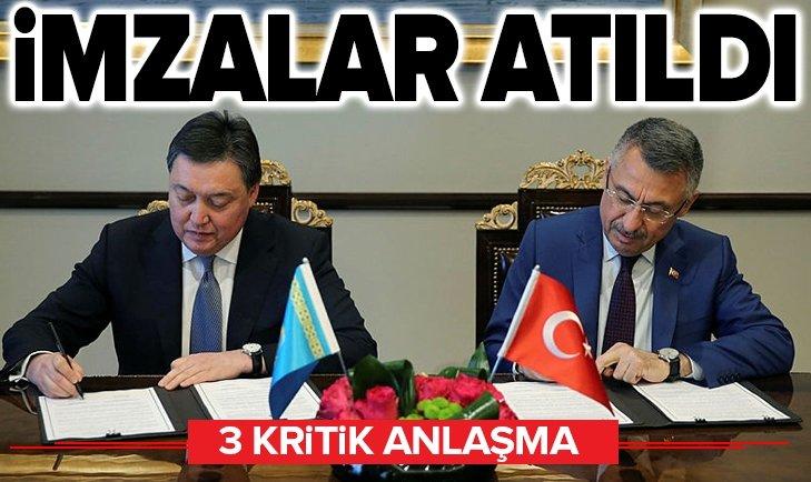 İMZALAR ATILDI! TÜRKİYE İLE KAZAKİSTAN ARASINDA 3 ANLAŞMA