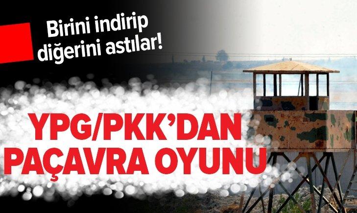 YPG/PKK'DAN TEL ABYAD'DA 'BAYRAK' OYUNU! BİRİNİ İNDİRİP DİĞERİNİ ASTILAR