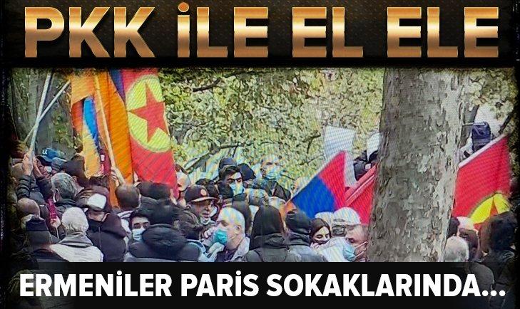 Ermeniler Paris'te PKK'lı teröristler ile gösteri düzenledi