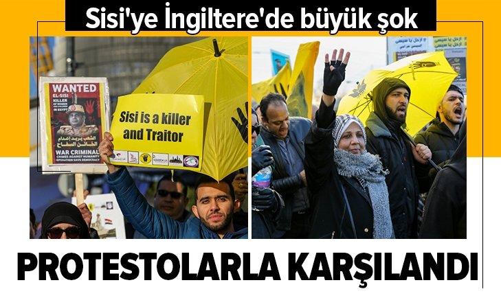 İNGİLTERE'YE GİDEN SİSİ, PROTESTOLARLA KARŞILANDI
