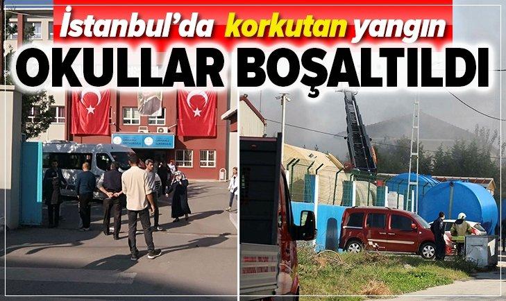 İSTANBUL'DA KORKUTAN YANGIN! OKULLAR BOŞALTILDI