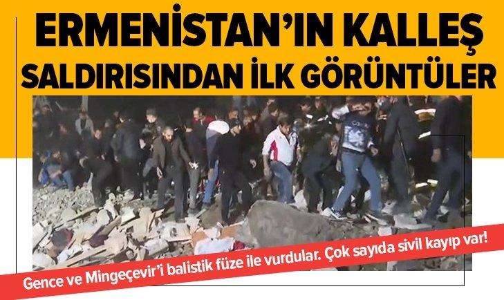 Ermenistan'in hain saldırısından gelen ilk görüntüler!