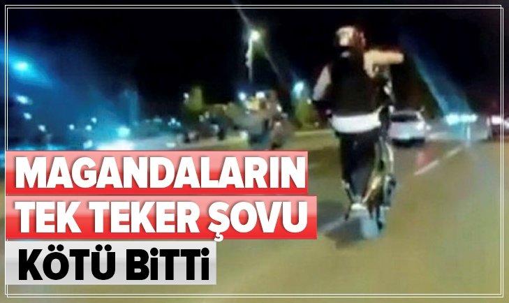 PENDİK'TE MOTOSİKLETLİ MAGANDANIN TEK TEKER KAZASI KAMERADA