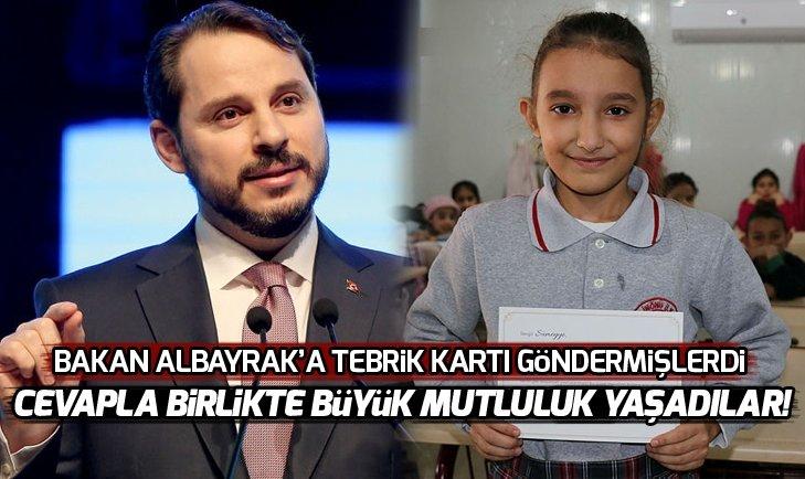 Bakan Albayrak ve Gül'den tebrik kartları gönderen öğrencilere cevap