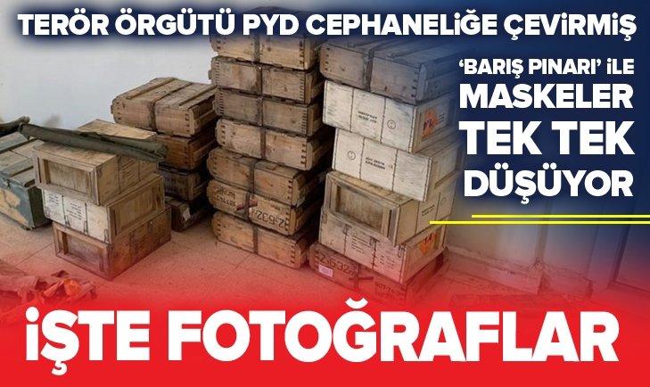 PYD, SİLAH DEPOSUNA ÇEVİRMİŞ! İŞTE 'BARIŞ PINARI'NDAN KRİTİK FOTOĞRAFLAR...