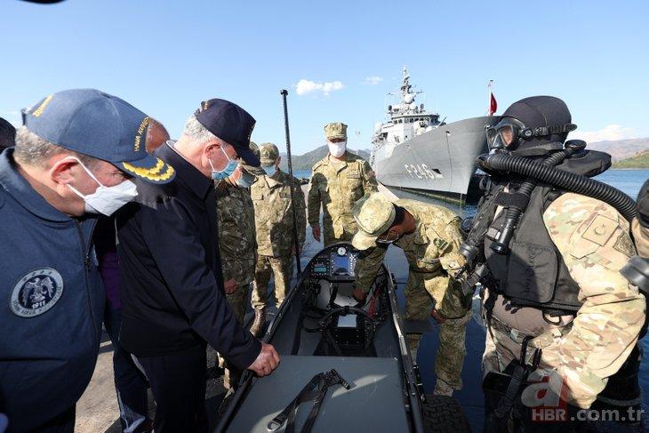 Denizkurdu Tatbikatı'nda dikkat çeken cihaz! Milli Savunma Bakanı Hulusi Akar inceledi