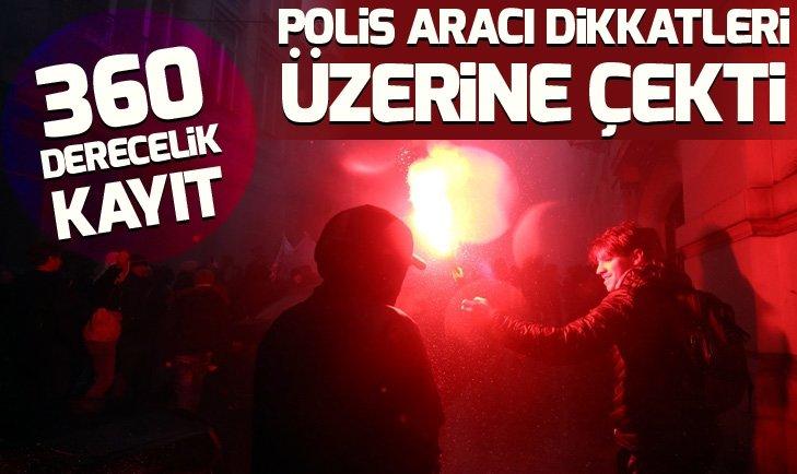 BRÜKSEL'DE PROTESTODA DİKKATLERİ ÜZERİNE ÇEKEN POLİS ARACI