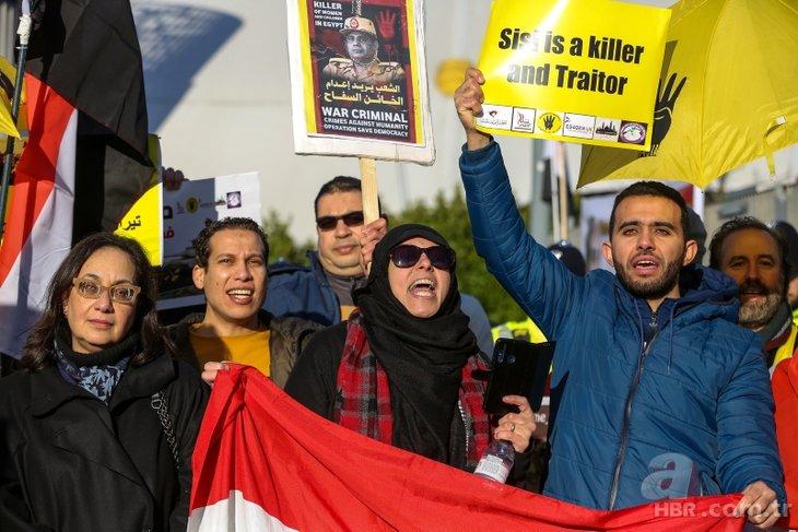 İngiltere'ye giden Sisi, protestolarla karşılandı