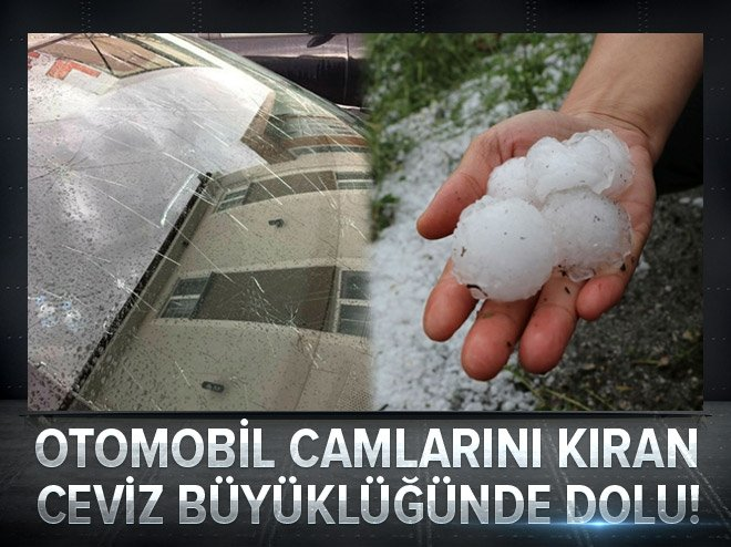 EDİRNE'YE OTOMOBİL CAMLARINI KIRAN DOLU YAĞDI