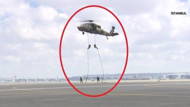 Helikopterden halatlarla indiler ve...