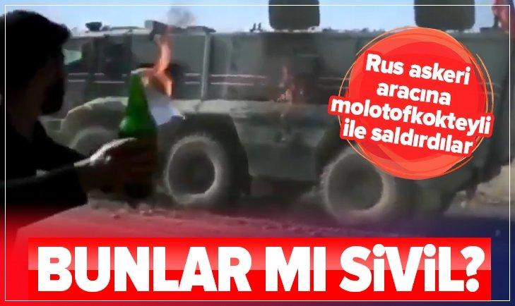 PKK YANDAŞLARI RUS ASKERİ ARACINA MOLOTOFKOKTEYLİ İLE SALDIRDI