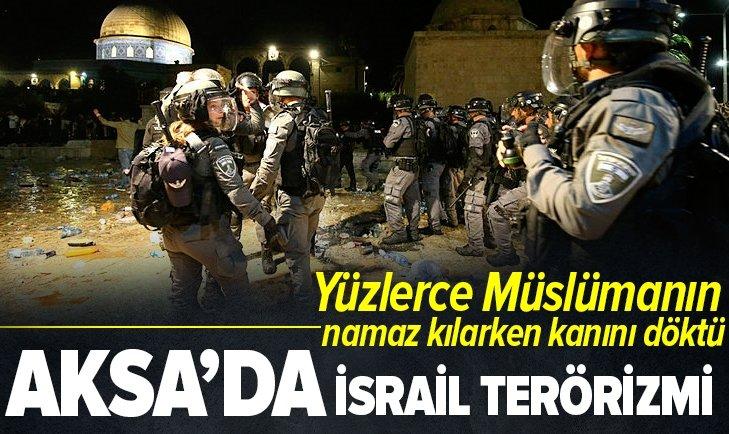 Terörist İsrail Mescid-i Aksa'da kan döktü!