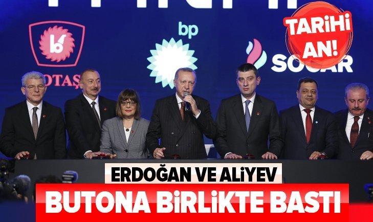 Tarihi an! Başkan Erdoğan ve Aliyev butona birlikte bastı