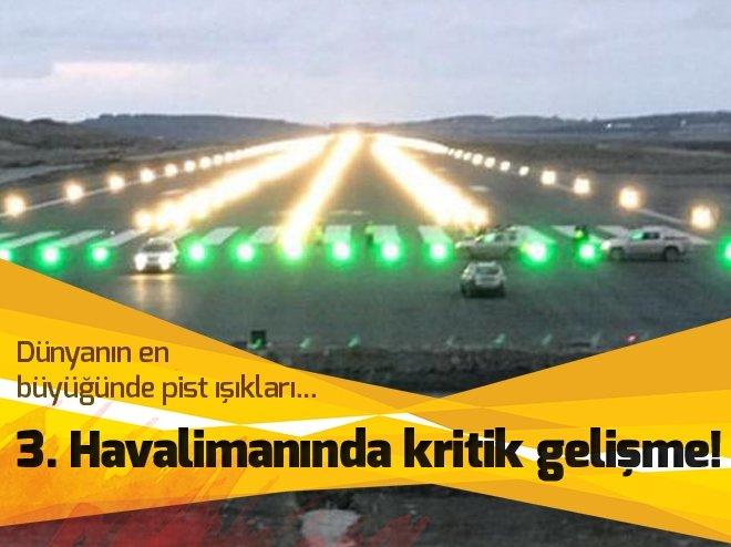 Havalimanındaki pist ışıkları yanmaya başladı