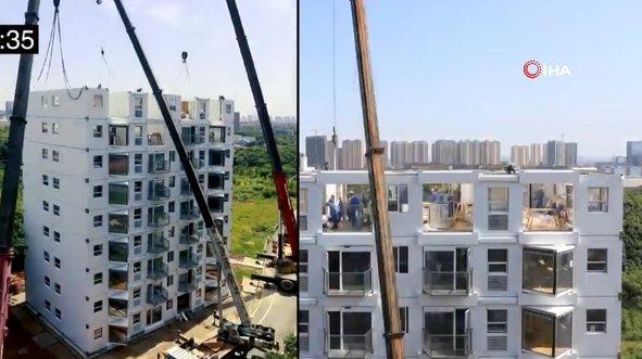 28 saatte 10 katlı bina inşa ettiler