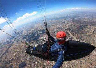 8 saat 15 dakika havada kaldı! Çorum'dan Konya'ya paraşütle uçtu