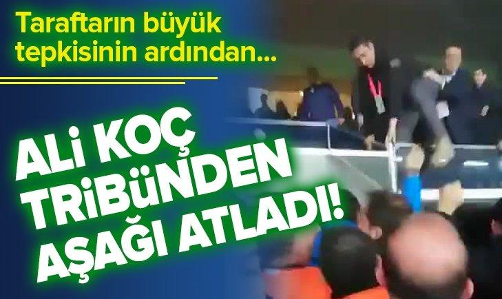 ALİ KOÇ PROTESTODA BULUNAN TARAFTARLARIN ARASINA ATLADI