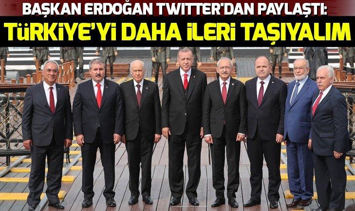 Başkan Erdoğan Twitter'dan paylaştı: Türkiye'yi daha ileri taşıyalım