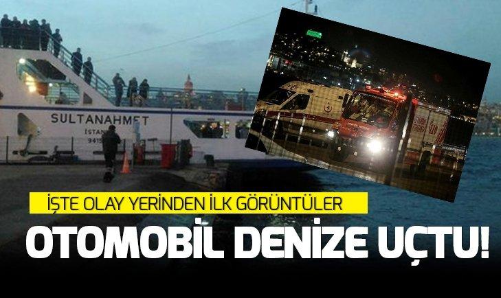 EMİNÖNÜ'NDE OTOMOBİL DENİZE UÇTU