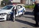 Sultanbeyli'de İETT otobüsü polis aracına çarptı | Video