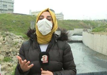 Haramidere'de kimyasal alarm! Korkutan manzara! Canlı yayında 3 farklı renkte aktı