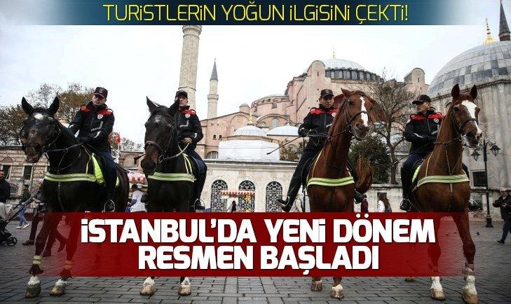 ATLI POLİSLER SULTANAHMET MEYDANI'NDA GÖREVE BAŞLADI