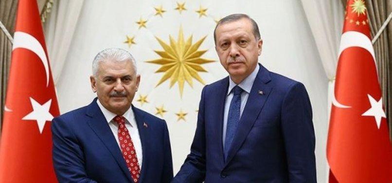 BAŞKAN ERDOĞAN BİNALİ YILDIRIM'I TEBRİK ETTİ