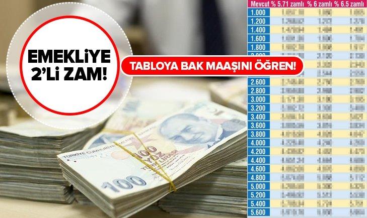 EMEKLİYE 2'Lİ ZAM!