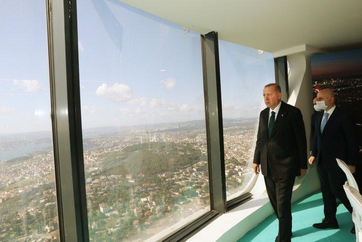 Başkan Erdoğan yapımı devam eden Çamlıca Kulesi'ni inceledi! İşte o kareler