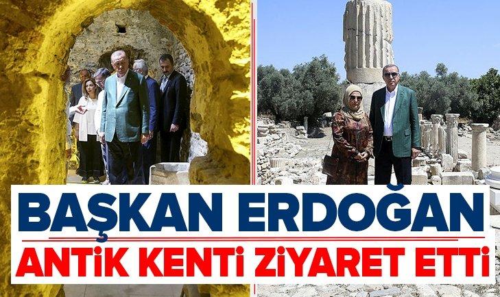 BAŞKAN ERDOĞAN MUĞLA'DA ANTİK KENTİ ZİYARET ETTİ
