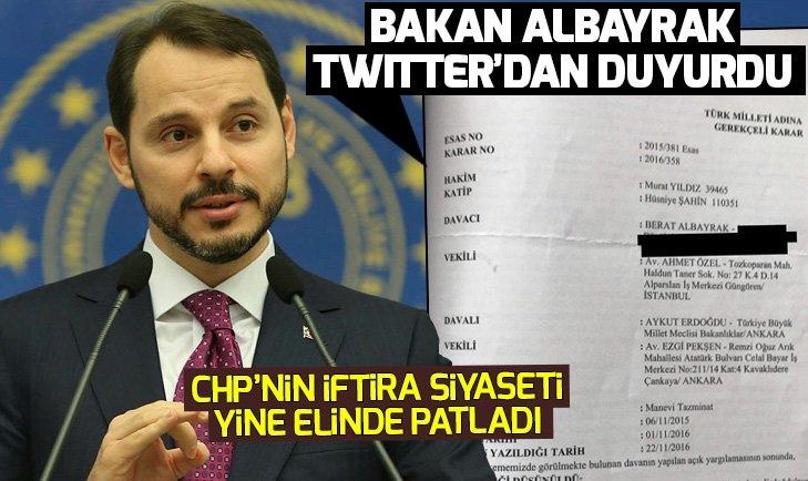 Bakan Albayrak Twitter'dan duyurdu: İftiralara karşı açtığımız davayı kazandık